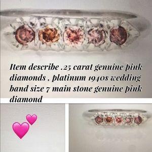 Platinum genuine pink diamond ring size 7
